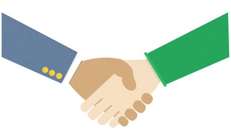 icône d'une poignée de main représentant l'accompagnement des huissiers