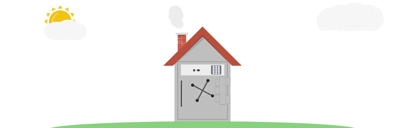 illustration d'une maison coffre fort représentant la sécurité d'avoir investi dans un loyer