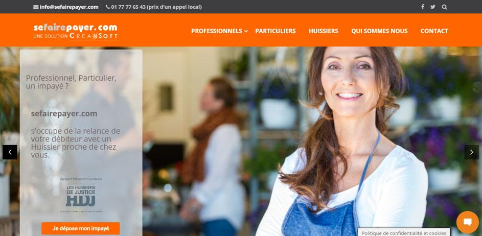 Capture d'écran de la page d'accueil du site internet sefairepayer.com