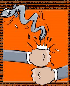 illustration d'une autruche représentant un client qui se cache pour ne pas qu'on lui réclame de rembourser sa dette. Profil récalcitrant