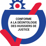 Logo certifiant sefairepayer par la commission de déontologie de la chambre national des commissaires de justice section huissiers.