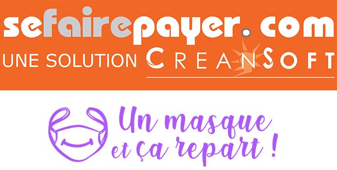 Logo de Sefairepayer.com et de un masque et ça repart